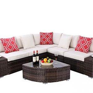 Do4U 6 Pieces Outdoor Patio PE Rattan Furniture Sectional Conversation Set