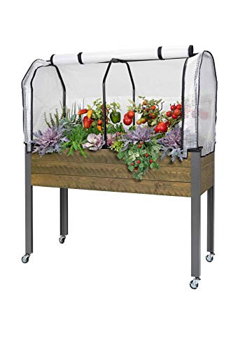 "CedarCraft Elevated Spruce Planter (21"" x 47"" x 32""H) + Greenhouse Cover"