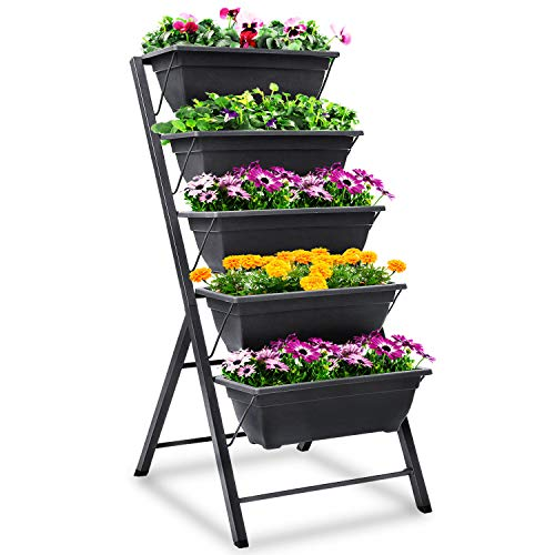 FOYUEE Vertical Herb Garden Planter Box Outdoor Elevated Raised Bed