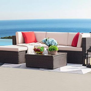 Devoko 5 Pieces Patio Furniture Sets All-Weather Outdoor Sectional Sofa
