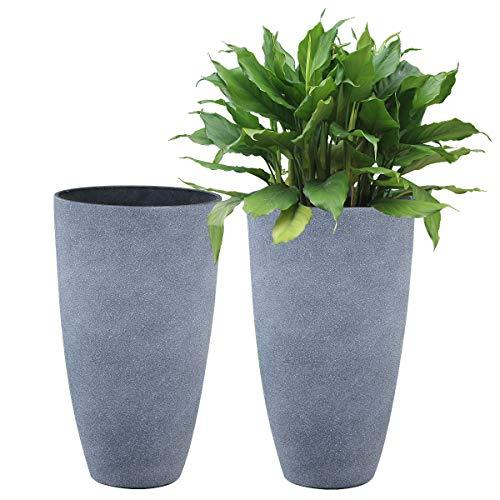 Tall Planters Set 2 Flower Pots, 20 Inch Each, Patio Deck Indoor Outdoor Garden