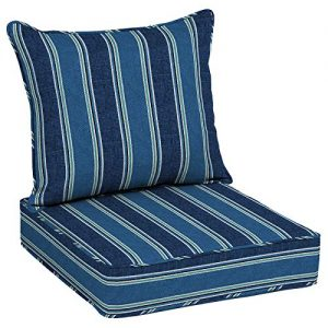 Allen roth 2-Piece Blue Coach Stripe Deep Seat Patio Chair Cushion