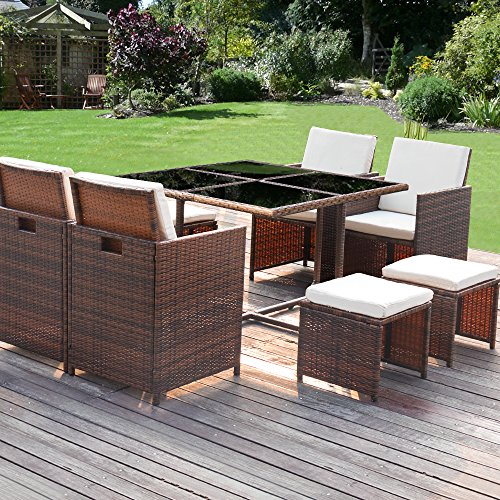 Homall 9 Pieces Patio Dining Sets Outdoor Furniture Patio Wicker Rattan Chairs