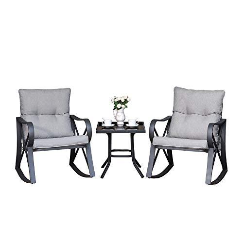 COSIEST 3 Piece Bistro Set Patio Rocking Chairs Outdoor Furniture