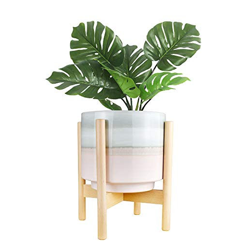 """10"""" Plant Pot and Wood Plant Stand Indoor, Mid Century Modern Large Ceramic"""