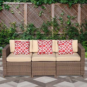 Patiorama Outdoor Furniture Wicker Sofa Couch 3 Piece Patio Furniture