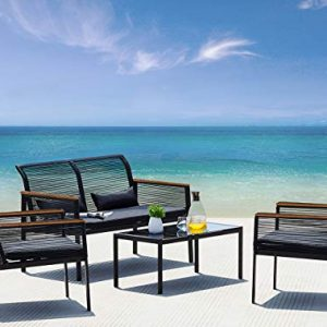 Suntone Patio Furniture Sofa Set - Wicker Patio Conversation Set