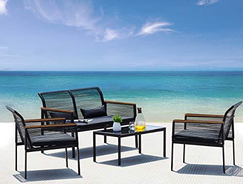 Suntone Patio Furniture Sofa Set - Wicker Patio Conversation Set
