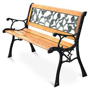 Giantex 50'' Patio Park Garden Bench, Outdoor Furniture Rose Cast Iron Hardwood
