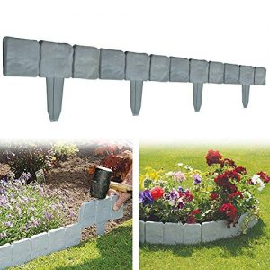Garden Plastic Fence Edging - 10 or 20 pcs Cobbled Stone Effect Lawn Edging Plant