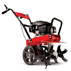 Earthquake 31043 Badger Heavy Duty Front Tine Tiller, 149cc 4-Cycle Kohler Engine, Gear Drive Transmission, Forged Steel Tines, Cast Iron Tail System, Large Wheels with Transport Position.