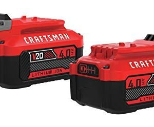 CRAFTSMAN V20 Lithium Ion Battery, 4.0-Amp Hour, 2 Pack