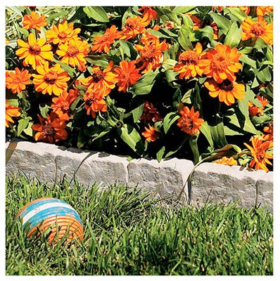 Suncast Interlocking Border Edging - Stone -Like Poly Construction for Garden