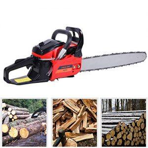 """TryE 52cc 22"""" Bar Petrol Chainsaw 2 Stroke Tree Wood Cutting Garden Gas Powered"""
