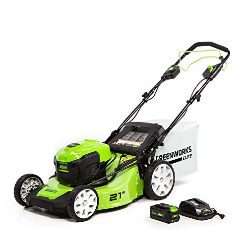 Greenworks 21-Inch 40V Brushless Self-Propelled Mower 6AH Battery and Charger