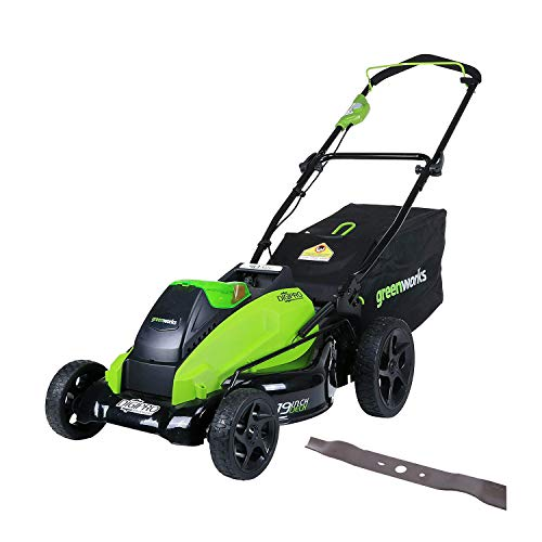 Greenworks 19-Inch 40V Cordless Lawn Mower with Extra Blade, Battery &amp
