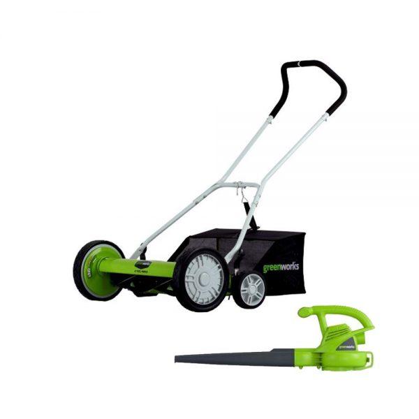 Greenworks 18-Inch Reel Lawn Mower with Grass Catcher + 7 AMP Blower