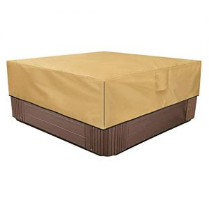 Sunkorto Square Hot Tub Cover, Waterproof Outdoor SPA Cover 600D Oxford Cloth and PVC Coating Hard Cover Protector with Air Vents and Handles, Fits up to 76 x 76 Inch, Light Brown