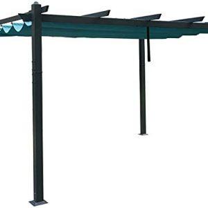 Kozyard Atlantics Outdoor 10'x13' Extra Large BBQ Grill Pergola with Sun Shade Gazebo Canopy Beige Canopy,UV Resistant Fabric (10ft x 13 ft Blue)