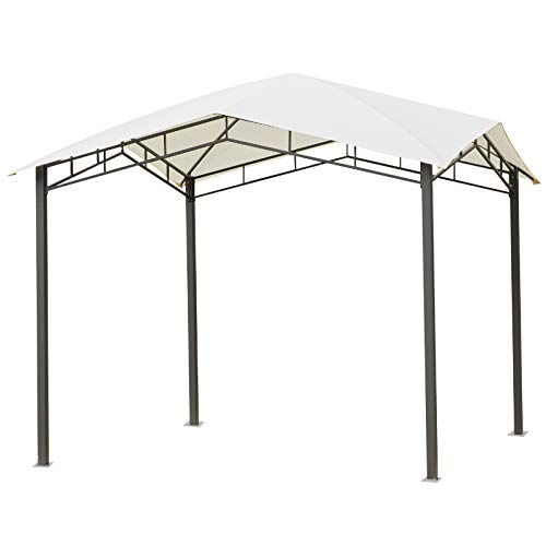 Outsunny 10' x 10' Soft Top Outdoor Canopy Gazebo Steel Fabric for Outdoor Social Events, Gatherings, Parties - White