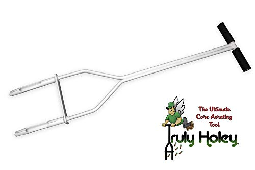 Truly Holey Manual Lawn Aerator Tool - 5 Pounds - Two Prong - Foot Bar - 38 in Height, 7 ½ in Wide