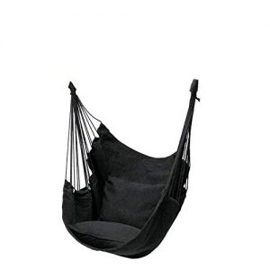 WZIKAI Canvas Swing Chair Hanging Rope Chair Garden Indoor Outdoor Hammocks with 2 Pillows Black