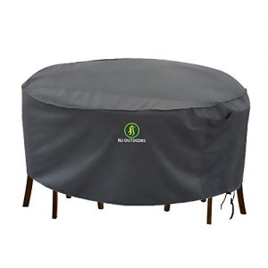 Outdoor Patio Furniture Covers, Waterproof UV Resistant Anti-Fading Cover for Small Round Table Chairs Set, Grey, 62 inch Diameter
