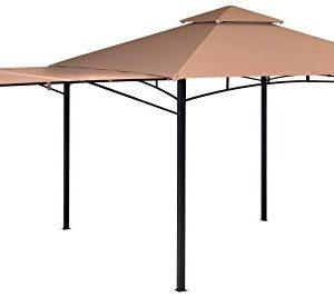 ShelterLogic Canopy Series Redwood 11 x 11-Foot Easy Assembly Seasonal Shade UV Protection with Extendable Awning Outdoor Gazebo, 11' x 11', Bronze