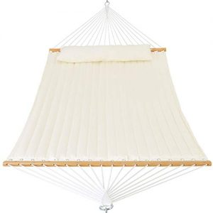 Patio Watcher 11 Feet Quilted Fabric Hammock with Pillow Double 2 Person Hammock with Bamboo Spreader Bars, Perfect for Outdoor Patio Yard White