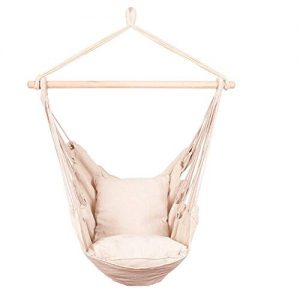 BCGI Hanging Rope Hammock Chair Swing Seat with Two Cushions, Large Brazilian Cotton Rope Hammock Porch Chair for Home, Yard, Patio, Porch, Indoor, Outdoor, Weight Capacity 260 Lbs
