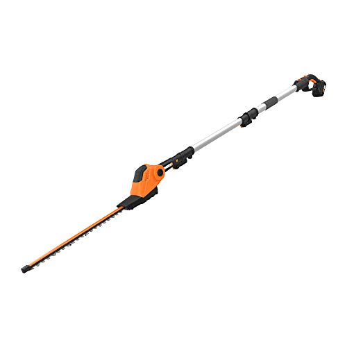 """WORX WG252 20V Power Share Pole Hedge Trimmer 20"""", Battery and Charger Included,Black and Orange"""