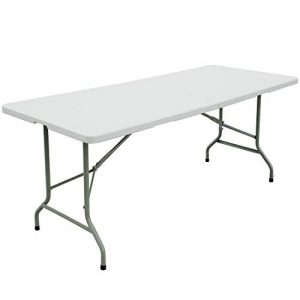 FORUP 6ft Table, Folding Utility Table, Fold-in-Half Portable Plastic Picnic Party Dining Camp Table (White)