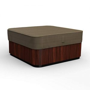 Budge P9A16BTNW3 NeverWet Hillside Square Hot Tub Cover Premium, Outdoor, Waterproof, Medium, Black and Tan Weave