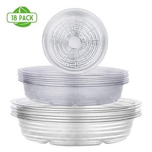 Remiawy Clear Plant Saucers 18 Pack (6/8/10 Inch), Flower Pot Drip Trays for Indoor & Outdoor Plants Garden Saucers Plant Pot Saucer Trays