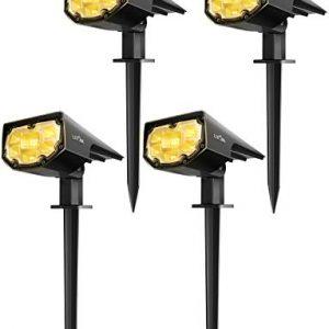 LITOM 12 LED Solar Landscape Spotlights, IP67 Waterproof Solar Powered Wall Lights 2-in-1 Wireless Outdoor Solar Landscaping Lights for Yard Garden Driveway Porch Walkway Pool Patio 4 Pack Warm White