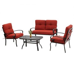 Incbruce 4Pcs Outdoor Indoor Patio Furniture Conversation Set (Loveseat, Coffee Table, 2 Chairs) - Steel Frame Patio Seating Set with Red Cushions