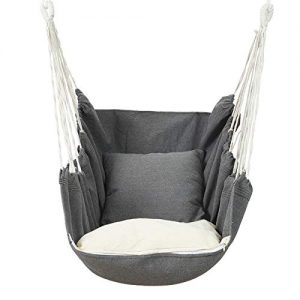 Outdoor Hammock Chair Macrame Swing, Carrying Bag for Indoor Outdoor,Large Hanging Rope Seat with 2 Cushions, Weight Capacity 440 Lbs, Grey