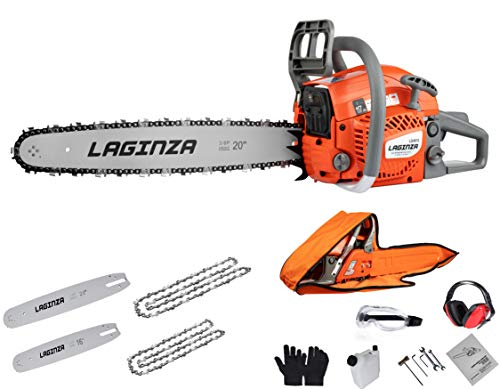 LaGinza LG4610 46CC 16-inch 20-inch 2IN1 Gas Powered Chainsaw with Carrying Case, Orange/Gray