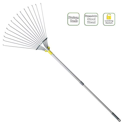 Jardineer 63 inch Adjustable Garden Rake Leaf, Collect Loose Debris Among Delicate Plants, Lawns and Yards, Expandable Head from 7 inch to 23 inch. Ideal Garden Rake Tools