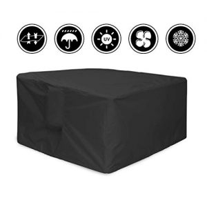 J&C 49x49x29inch Patio Furniture Cover, Outdoor Square Patio Furniture Set Covers Furniture Table Cover, Black Durable Waterproof Dust Proof Protection Covers for Garden Lawn Furniture Sets