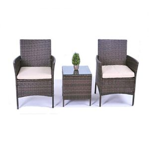 United Flame Patio Chairs 3 PCS Bistro Set Indoor and Outdoor Furniture Porch Backyard Balcony Lawn Garden Furniture All Weather Rattan Chairs with Table Brown