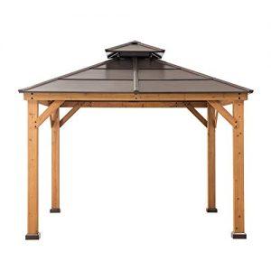 Sunjoy A102008500 Chapman 10x10 ft. Cedar Framed Gazebo with Steel 2-Tier Hip Roof Hardtop, Brown
