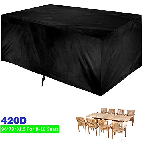 """HccBss Patio Table Cover Outdoor, 98"""" x 79"""" x 31.5"""" Rectangular/Oval Garden Furniture Set Cover, Water and UV Resistant Outdoor Lawn Dining Table Chairs Protection"""