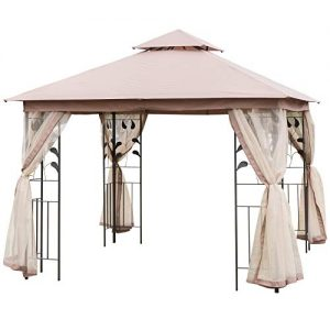 Outsunny 8.5' Steel Fabric Rectangle Outdoor Gazebo with Mesh Curtain Sidewalls - Brown
