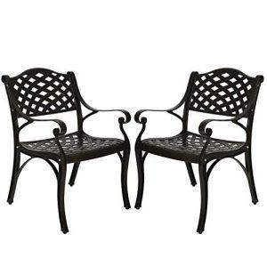 FULLWATT 2 Piece Cast Aluminum Chair Outdoor Bistro Dining Chair Set Aluminum Dining Chairs for Patio Yard Garden Furniture Antique Bronze