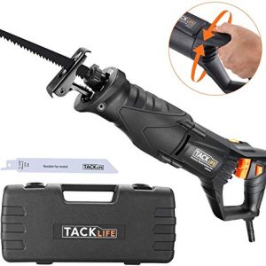 "TACKLIFE Reciprocating Saw, 7 Amp Recip Saw with Rotary Handle(Left & Right 90°), 0-2800SPM Variable Speed, LED Lights, 2 Saw Blades for Wood and Metal, Sturdy Box, 1-1/8"" Stroke Length-RPRS01A"
