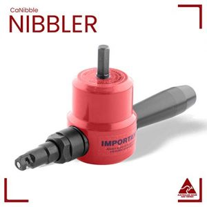 CaNibble Professional Nibbler | The Original Sheet Metal Cutter | Attaches to Standard Drill | Cuts Flat or Corrugated Sheets | Multi-Directional Cutting | Comes with Free Extra Punch