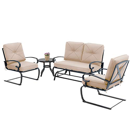 Incbruce 4Pcs Outdoor Patio Furniture Conversation Sets (Loveseat, Bistro Table, 2 Spring Chair) - Swing Glider Rocking Patio Bench and Spring Metal Lounge Chairs Sets with Cushions (Brown)