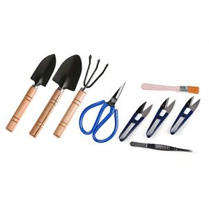ZELARMAN Bonsai Tools Kit Garden Tool Set of 9 Pcs with Pruning Shears,Scissors,Tweezers,Cleaning Brush,Mini Rake&Spades
