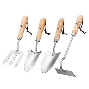 YAPASPT Gardening Tool Sets – 4 Piece Heavy Duty Garden Hand Tools Kits with Wood Handle and Stainless Steel Head – Trowel Cultivator Transplanter and Weed Fork